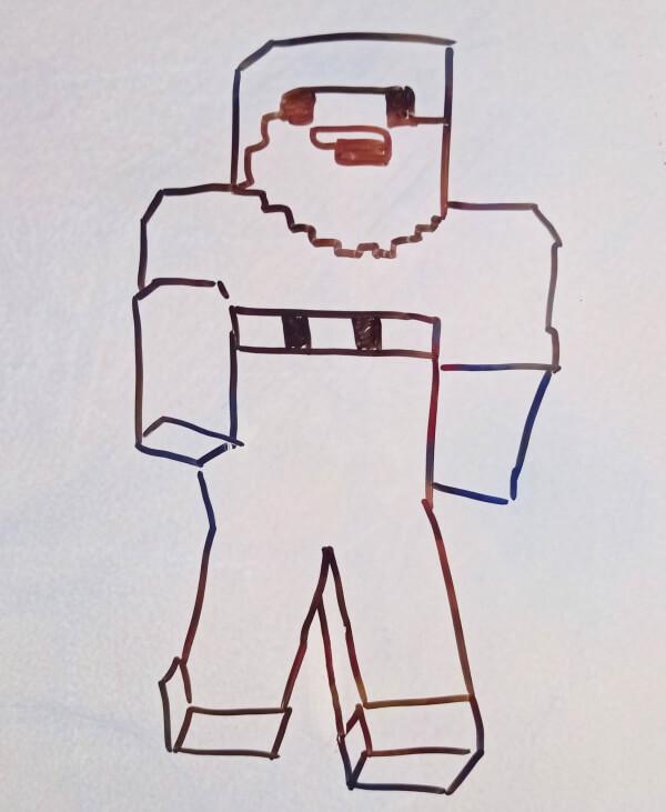 Нубик из Minecraft нарисовать поэтапно с детьми