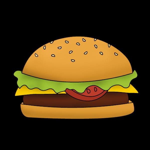 Бургер нарисовать поэтапно с детьми