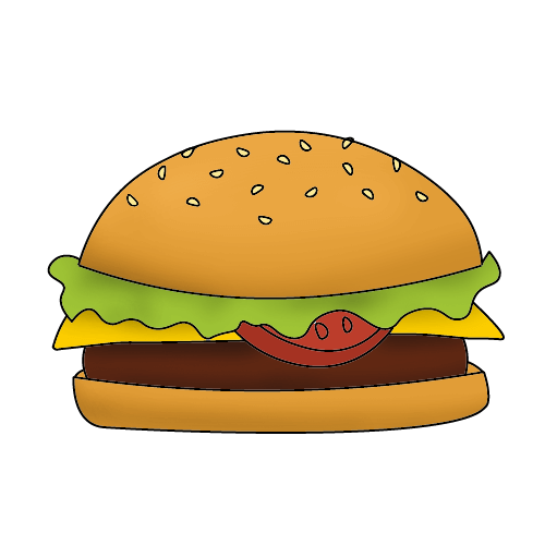 Как нарисовать бургер